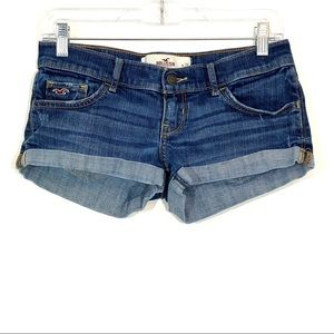 Hollister Low Rise Cuffed Booty Shorts Distressed
